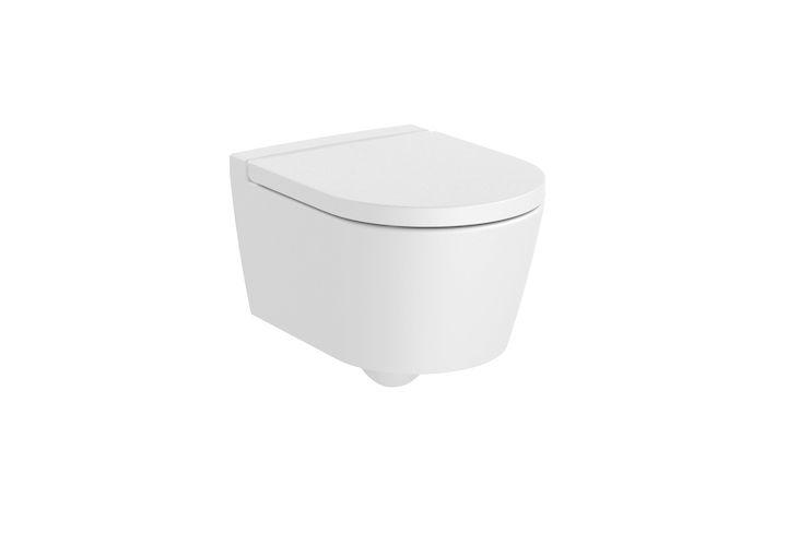 Miska WC wisząca Roca Inspira Round Rimless Compacto 37x48 cm biały matowy A346528620 @