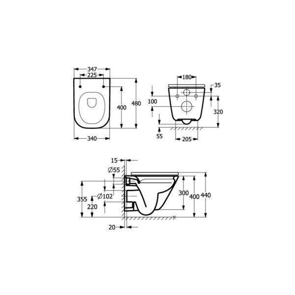 Zdjęcie Miska WC podwieszana Roca Gap Square Rimless Compacto 48×34 cm biały A34647A00M