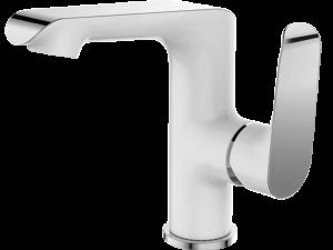 Bateria umywalkowa stojąca z wylewką L Laveo Alea biały/chrom BLE_625D