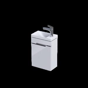 Zestaw szafka z umywalką 40 cm Oristo Silver Uni 1 drzwi biały połysk  OR33-ZD1D-40-1