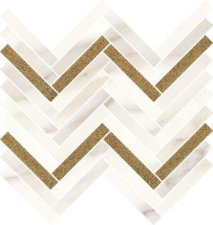 Inserto Paradyż Calacatta sparkle Gold Mozaika cięta połysk 28,1x30,1 cm (p)