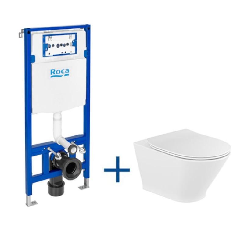 Zestaw podtynkowy DUPLO ONE + miska WC podwieszana Gap ROUND RIMLESS z deską SLIM Roca Gap A893104470