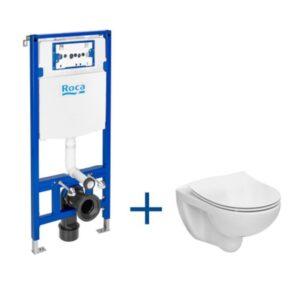 Zestaw podtynkowy DUPLO ONE + miska WC podwieszana VICTORIA RIMLESS z deską SLIM Roca Victoria 47,5x66,5 cm biały A893104390