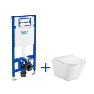 Zestaw podtynkowy DUPLO ONE + miska WC podwieszana Gap SQUARE RIMLESS z deską SLIM Roca Gap A893104500