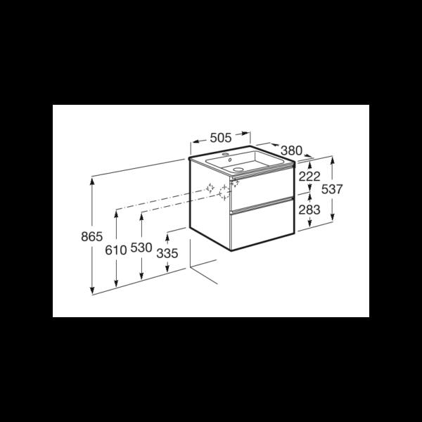 Zdjęcie Zestaw unik Roca Gap 50 cm, szafka z umywalką w. Compacto. jesion nordic A851494434