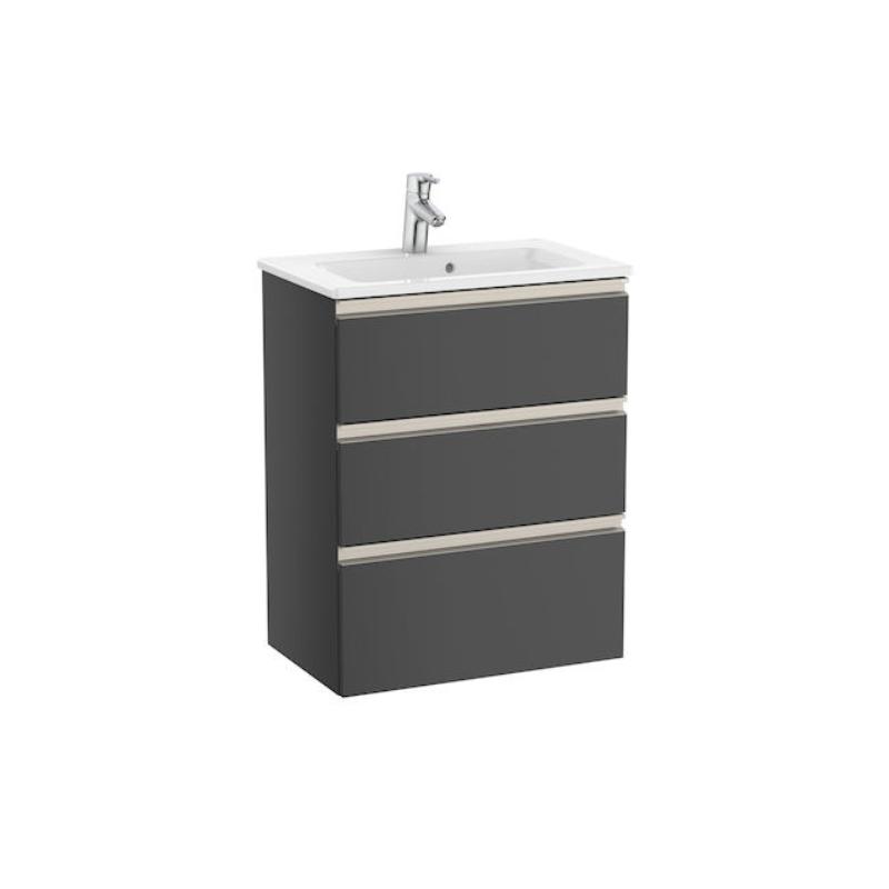Zestaw unik Roca Gap 60 cm, szafka z umywalką w. Compacto. antracyt połysk A851498153