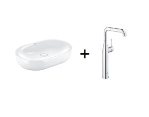 Zestaw Grohe Essence - umywalka nablatowa 60 cm biel alpejska 3960800H + Grohe Essence - bateria umywalkowa wysoka Chrom XL 32901001