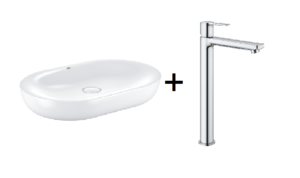 Zestaw Grohe Essence - umywalka nablatowa 60 cm biel alpejska 3960800H + GROHE Lineare – jednouchwytowa bateria umywalkowa XL do umywalek wolnostojących Chrom 23405001