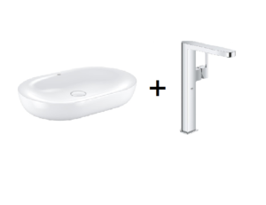 Zestaw Grohe Essence - umywalka nablatowa 60 cm biel alpejska 3960800H + Grohe Plus – bateria umywalkowa stojąca XL chrom 32618003