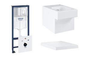 Zestaw GROHE Rapid SL Stelaż 5w1 38827000 + GROHE Cube Ceramic – miska WC wisząca biała 3924500H + GROHE Cube Ceramic – wolnoopadająca deska sedesowa 39488000
