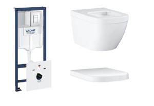Zestaw GROHE Rapid SL Stelaż 5w1 38827000 + GROHE Euro Ceramic – miska WC wisząca 3932800H + Deska WC Grohe Euro Ceramic wolnoopadająca biel alpejska 39330001
