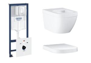 Zestaw GROHE Rapid SL Stelaż 5w1 38827000 + GROHE Euro Ceramic – miska WC wisząca 3932800H + Euro Ceramic Grohe – deska sedesowa biały 39331001