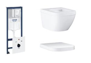 Zestaw GROHE Rapid SL Stelaż 5w1 38827000 + GROHE Euro Ceramic – miska WC wisząca krótka biała 39206000 + Deska WC Grohe Euro Ceramic wolnoopadająca biel alpejska 39330001