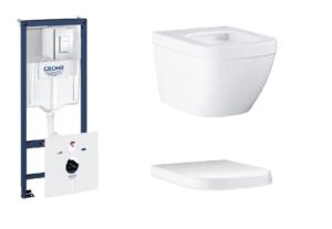 Zestaw GROHE Rapid SL Stelaż 5w1 38827000 + GROHE Euro Ceramic – miska WC wisząca 3920600H + Deska WC Grohe Euro Ceramic wolnoopadająca biel alpejska 39330001