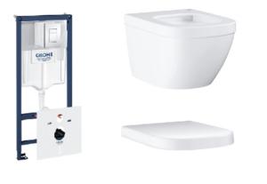 Zestaw GROHE Rapid SL Stelaż 5w1 38827000 + GROHE Euro Ceramic – miska WC wisząca 3920600H + Euro Ceramic Grohe – deska sedesowa biały 39331001