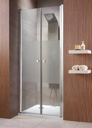 Drzwi wnękowe wahadłowe dwuczęściowe Radaway Eos DWD 120x197 cm chrom przeźroczyste Easy Clean 37773-01-01N @ ^