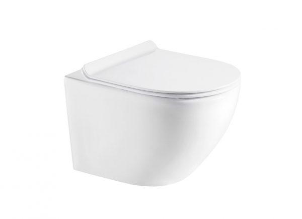Zdjęcie Stelaż podtynkowy do wc 3/6L Roca PRO A890090020 + Przycisk Roca PL4 2-funkcyjny biały A890098000 + Miska WC wisząca Aquahome Amber 49x37cm bezrantowa z deską slim wolnoopadającą biały ^