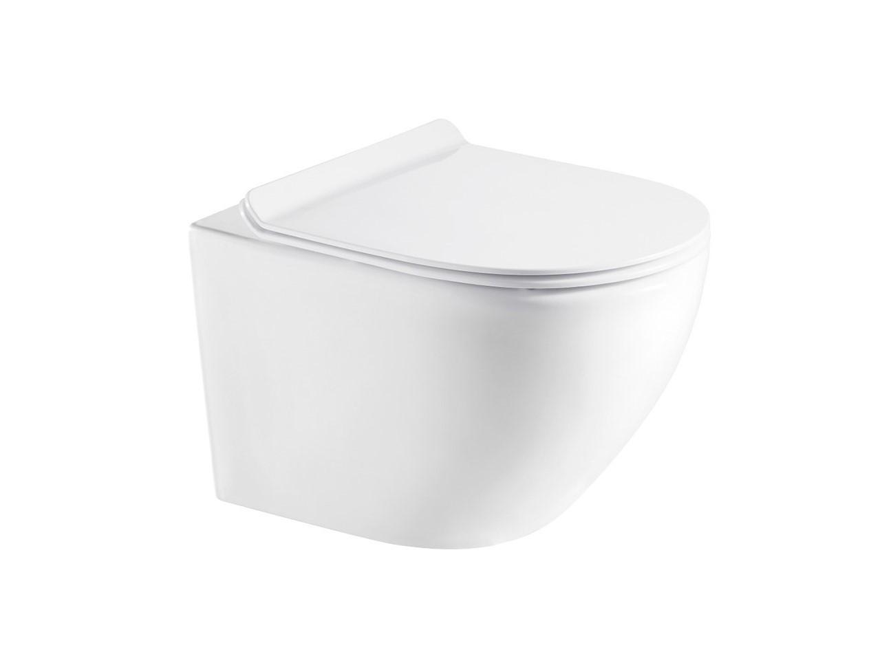 Miska WC wisząca Aquahome Amber 49x37cm bezrantowa z deską slim wolnoopadającą biały
