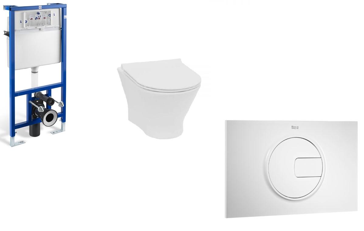 Stelaż podtynkowy do wc 3/6L Roca PRO A890090020 + Przycisk Roca PL4 2-funkcyjny biały A890098000 + Miska WC podwieszana Rimless z deską wolnoopadającą SLIM (zestaw) Roca Nexo 53,5×36 cm biały A34H64L000 ^