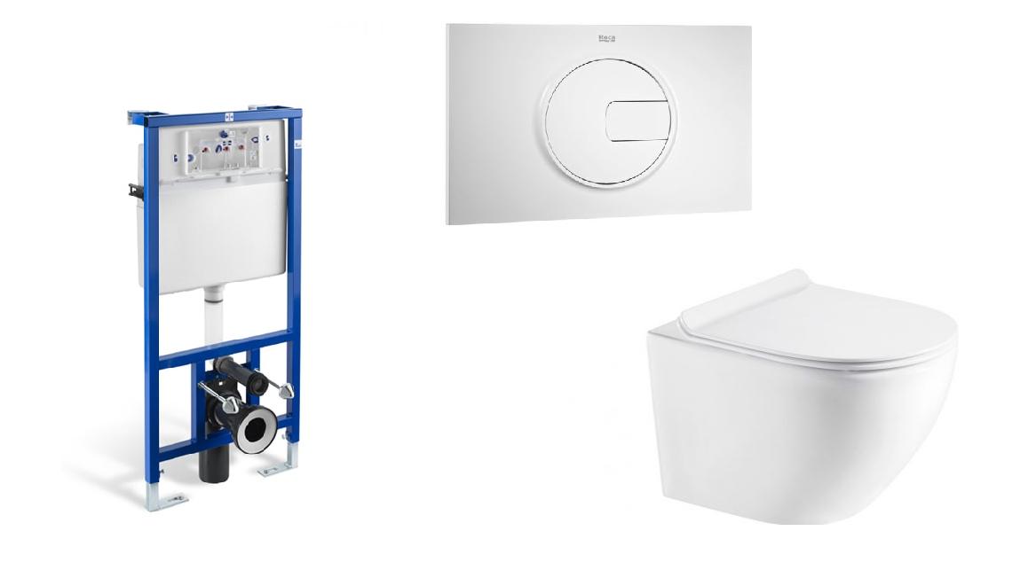 Stelaż podtynkowy do wc 3/6L Roca PRO A890090020 + Przycisk Roca PL4 2-funkcyjny biały A890098000 + Miska WC wisząca Aquahome Amber 49x37cm bezrantowa z deską slim wolnoopadającą biały ^