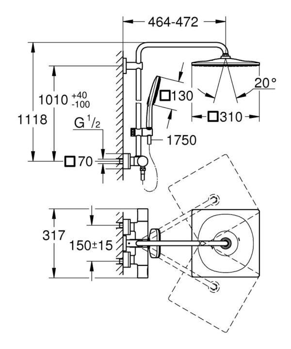 Zdjęcie Grohe Rainshower SmartActive 310 System prysznicowy z termostatem do montażu ściennego chrom 26649000 .