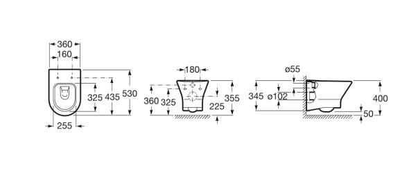 Zdjęcie Stelaż podtynkowy do wc 3/6L Roca PRO A890090020 + Przycisk Roca PL4 2-funkcyjny biały A890098000 + Miska WC podwieszana Rimless z deską wolnoopadającą SLIM (zestaw) Roca Nexo 53,5×36 cm biały A34H64L000 ^