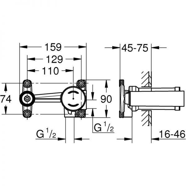 Zdjęcie GROHE Essence – 2-otworowa bateria umywalkowa do ściennego montażu podtynkowego L 230 mm hard graphite 19967A01 + GROHE – jednouchwytowy element do zabudowy podtynkowej 23571000