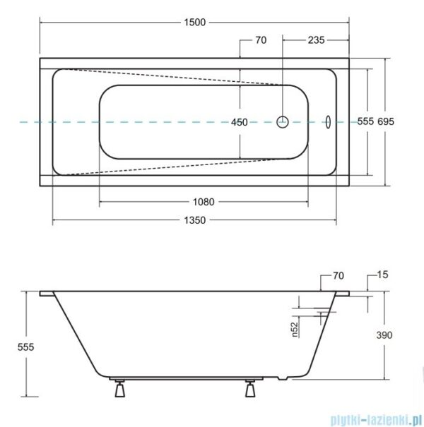 Zdjęcie Wanna prostokątna Besco Modern Slim 150×70 cm biały WAM-150-SL