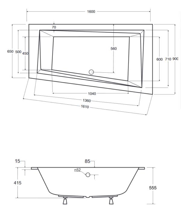 Zdjęcie Wanna asymetryczna prawa Besco Intima Slim 160×90 cm biały WAIT-160-SP