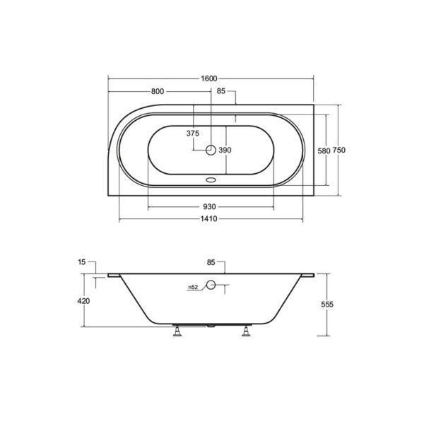 Zdjęcie Wanna asymetryczna prawa Besco Avita 160×75 cm biały WAV-160-NL