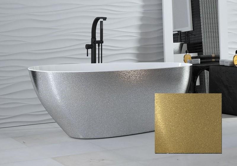 Wanna wolnostojąca złota Besco Goya Glam 142x62 cm złoty WMD-140-GZ