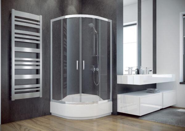 Zdjęcie Kabina prysznicowa półokrągła mrożone szkło Besco Modern 80x80x165 cm biały MP-80-165-M