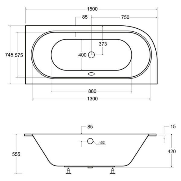 Zdjęcie Wanna asymetryczna prawa Besco Avita Slim 150×75 cm biały WAV-150-SP