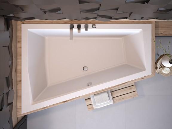 Wanna asymetryczna lewa Besco Intima Duo 180x125 cm biały WAID-180-NL