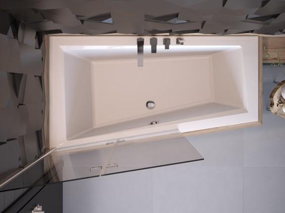 Zdjęcie Wanna asymetryczna prawa Besco Intima 160×90 cm biały WAIT-160-NP