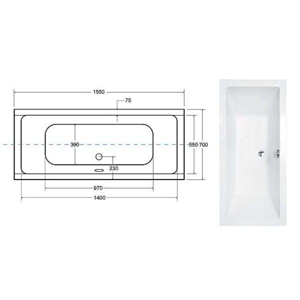 Zdjęcie Wanna prostokątna Besco Quadro Slim 155×70 cm biały WAQ-155-SL