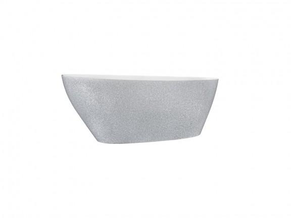 Wanna wolnostojąca srebrna Besco Goya Glam 160x70 cm srebrny WMD-160-GS