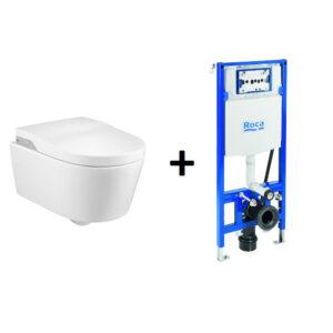 PROMOCJA! Stelaż za 1zł Toaleta myjąca podwieszana Roca Inspira Rimless zasilanie 230V A803060001 + Stelaż Duplo One Smart 119×47,5 cm A890078020
