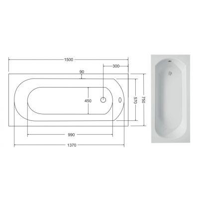 Zdjęcie Wanna prostokątna Besco Intrica 150×75 cm biały WAIN-150-PK