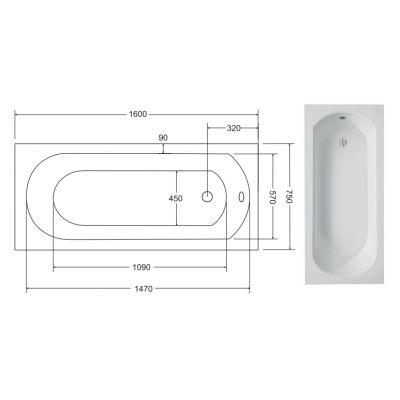 Zdjęcie Wanna prostokątna Besco Intrica 160×75 cm biały WAIN-160-PK