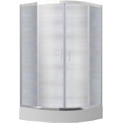 Kabina prysznicowa półokrągła mrożone szkło Besco Modern 80x80x165 cm biały MP-80-165-M
