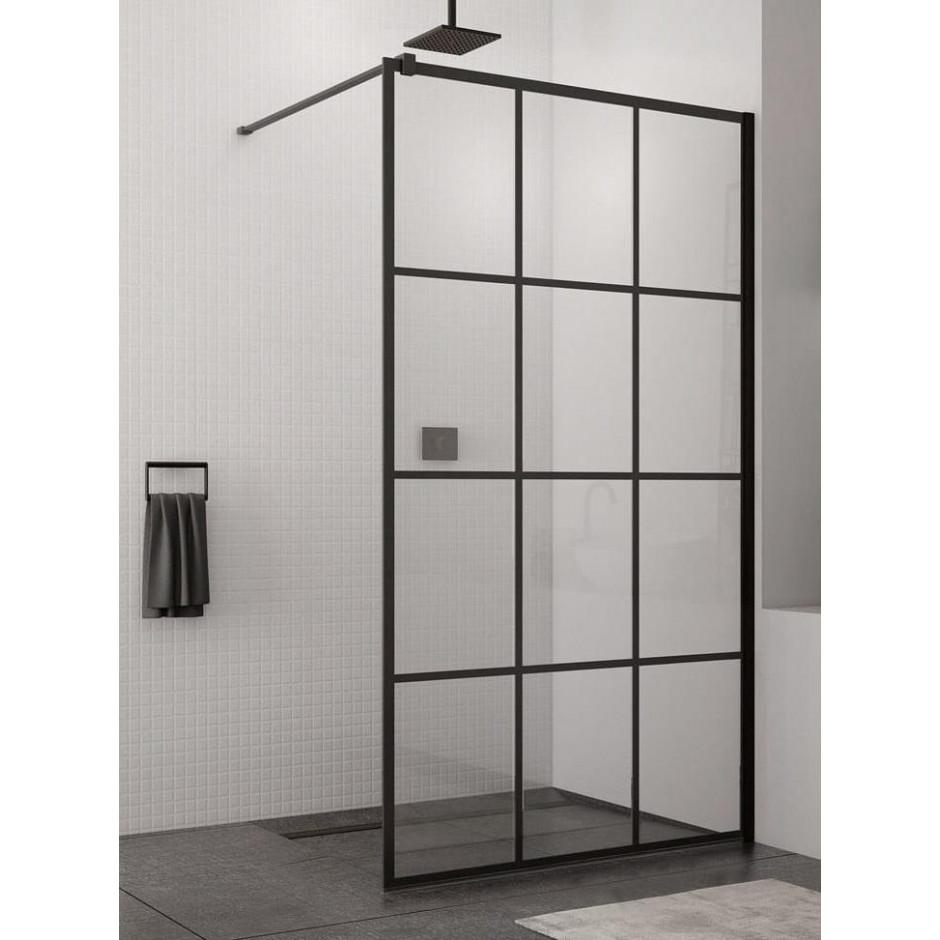 Kabina prysznicowa Walk – In SanSwiss Loft 75, 100x200 cm czarny mat STR4P1000675