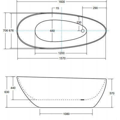 Zdjęcie Wanna wolnostojąca Besco Goya B&W 160×70 cm inny WMD-160-GBW