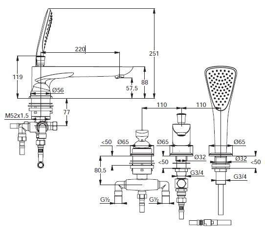 Zdjęcie Jednouchwytowa bateria wannowo-natryskowa trójotworowa Kludi Balance dł. wyl. 220 mm czarny mat 524478775
