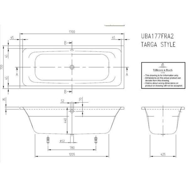 Zdjęcie Wanna akrylowa prostokątna Villeroy&Boch Targa Style 170×70 cm biały UBA177FRA2V-01