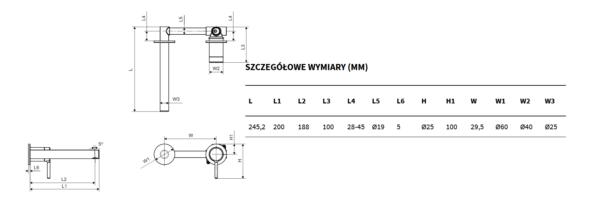 Zdjęcie Bateria umywalkowa podtynkowa Excellent Pi czarny mat AREX.1214BL