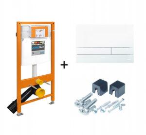 Stelaż podtynkowy do WC + przycisk spłukujący Exclusive 2.0 biały + wsporniki Jomo Jomotech 174-91100900-00