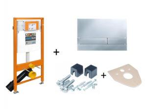 Stelaż podtynkowy do WC + przycisk spłukujący Exclusive 2.0 chrom/mat + wsporniki  + uszczelka Jomo Jomotech 174-91101200-00
