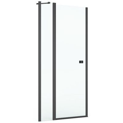 Drzwi prysznicowe z pole stałym Roca Capital 90x195 cm czarny mat/szkło przezroczyste MaxiClean AM4609016M