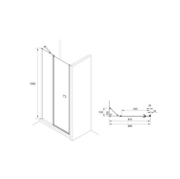 Zdjęcie Drzwi prysznicowe z pole stałym Roca Capital 90×195 cm czarny mat/szkło przezroczyste MaxiClean AM4609016M